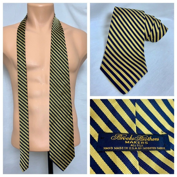 Brooks Brothers Other - Brooks Brothers Makers Blue Gold Stripe Silk Tie